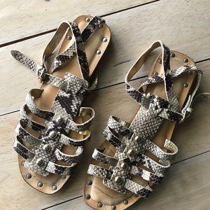 Kate Spade ♠️ Snake Slim Leather Gladiator Sandals